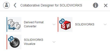 Appar du får med rollen Collaborative Designer för SOLIDWORKS.