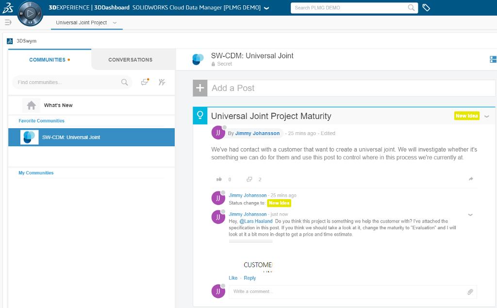 Skärmbild från idé-funktionen på 3DEXPERIENCE-plattformen.